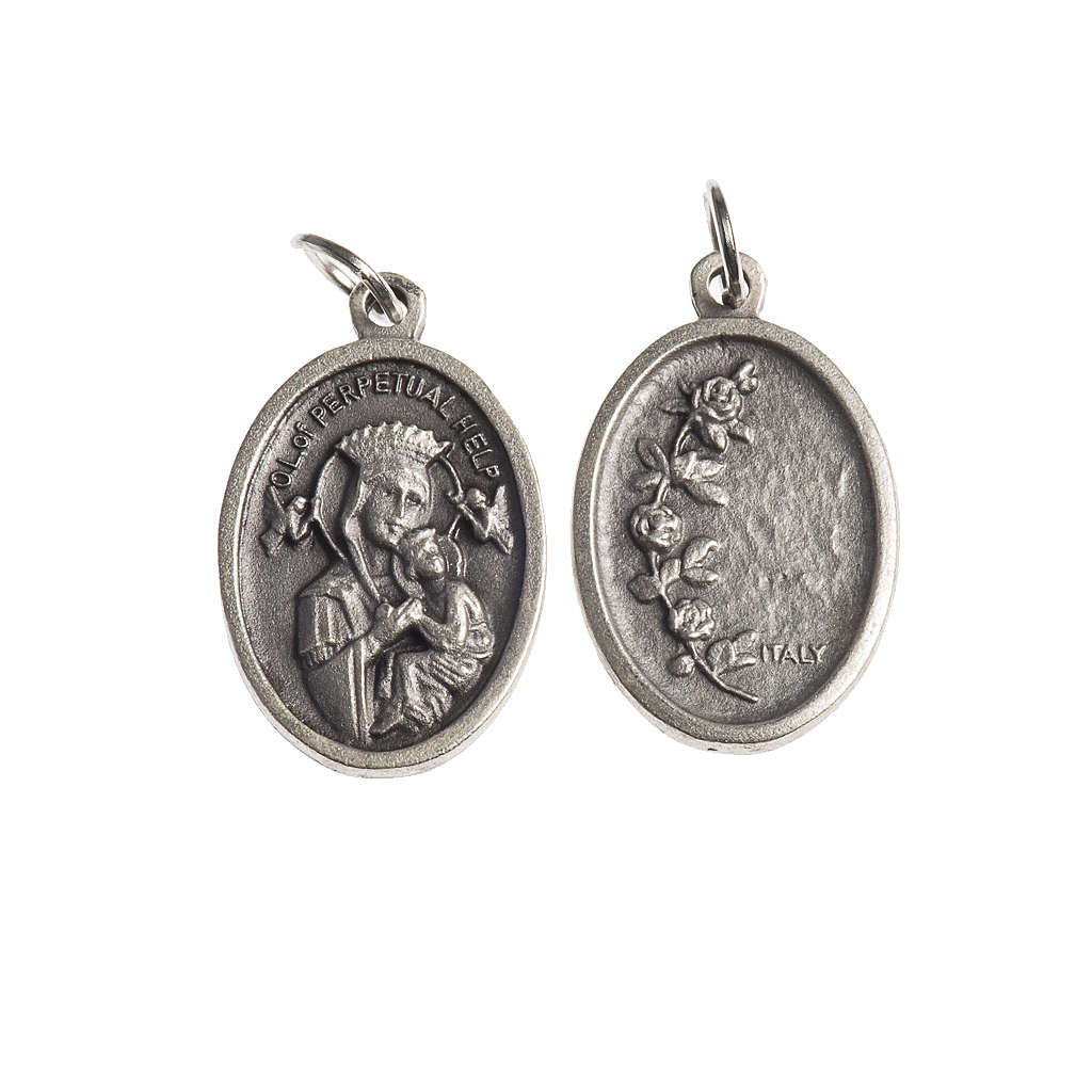 Our Lady Help of Christians medal, oval, antique silver 4