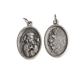 Our Lady Help of Christians medal, oval, antique silver s1