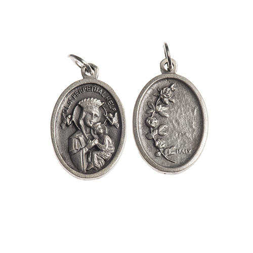 Our Lady Help of Christians medal, oval, antique silver 1