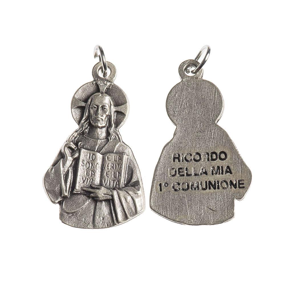 Medaglia Gesù  Prima Comunione 27 mm galvanica argento antico 4