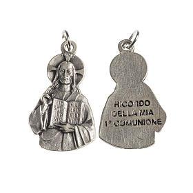 Medaglia Gesù  Prima Comunione 27 mm galvanica argento antico s1