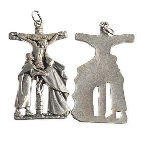 Médaille Crucifix 38 mm galvanisée argent vieilli s1