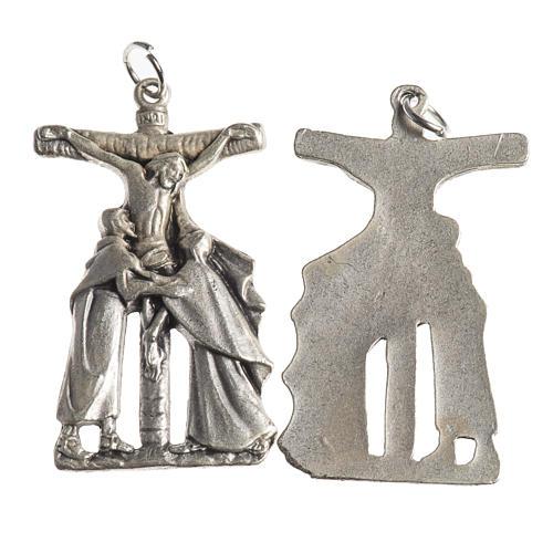 Médaille Crucifix 38 mm galvanisée argent vieilli 1
