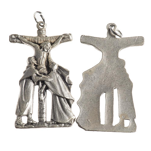 Medaglia Crocefisso 38 mm galvanica argento antico 1