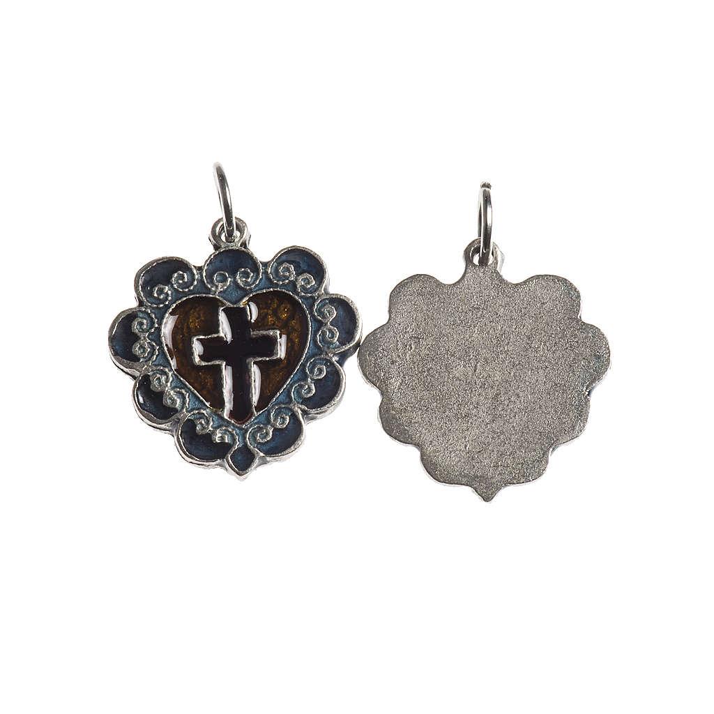 Medaglia Croce Cuore 17 mm galvanica argento antico smalto 4