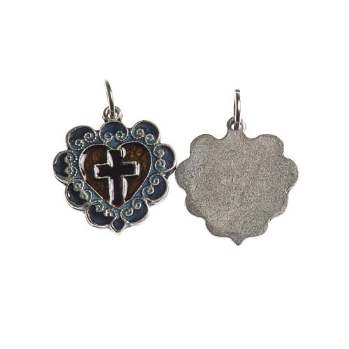 Medaglia Croce Cuore 17 mm galvanica argento antico smalto 1