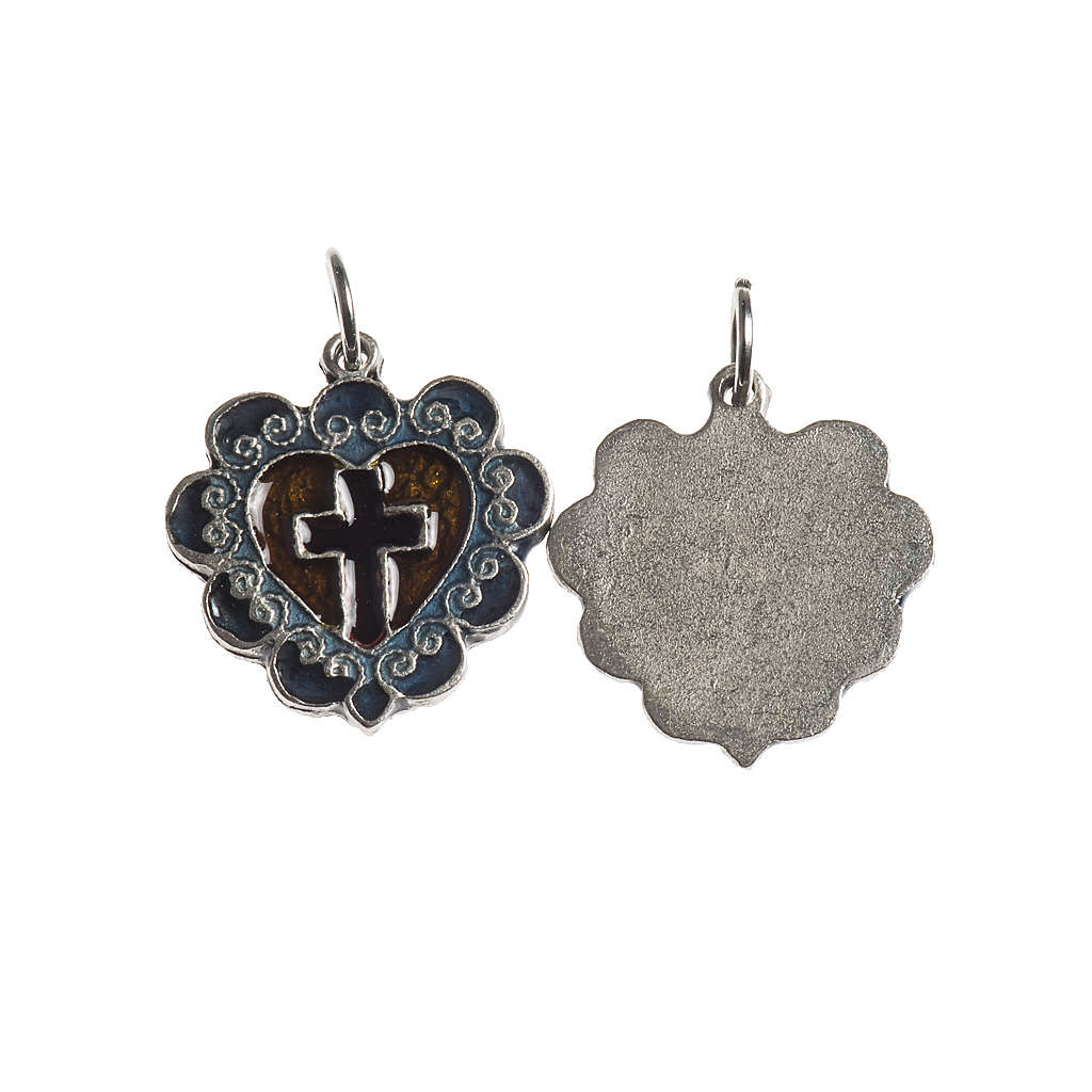 Heart cross medal, 17mm galvanic antique silver with enamel 4