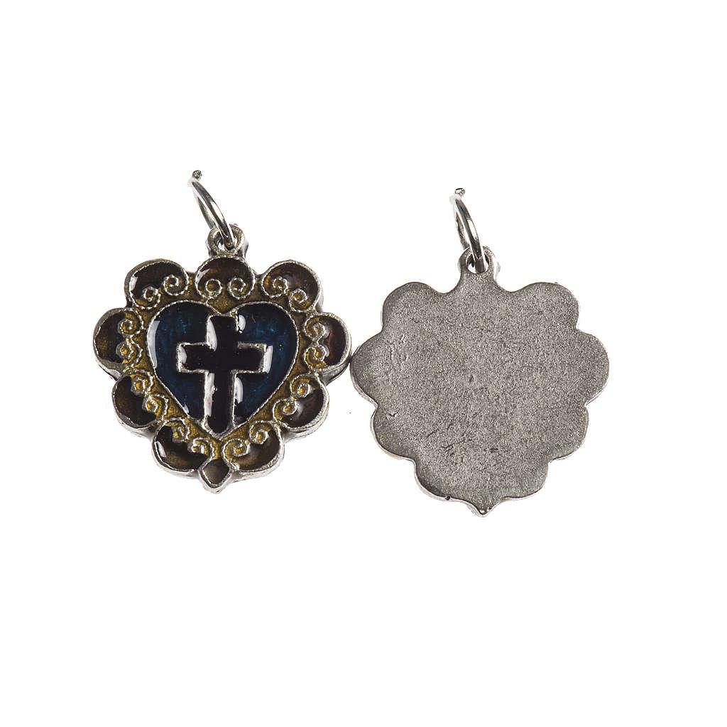 Médaille Croix Coeur 17 mm émail 4