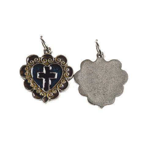 Médaille Croix Coeur 17 mm émail 1
