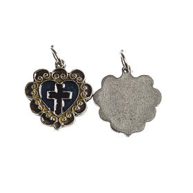 Medals: Heart cross medal, 17mm galvanic antique silver and enamel
