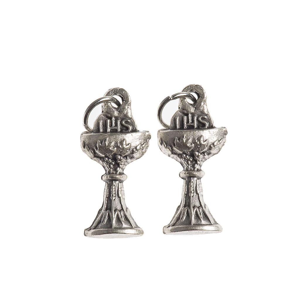 Communion medal, Chalice IHS galvanic antique silver 4