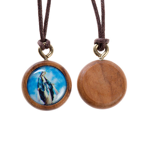 Olive wood pendant, round with Miraculous Madonna 1