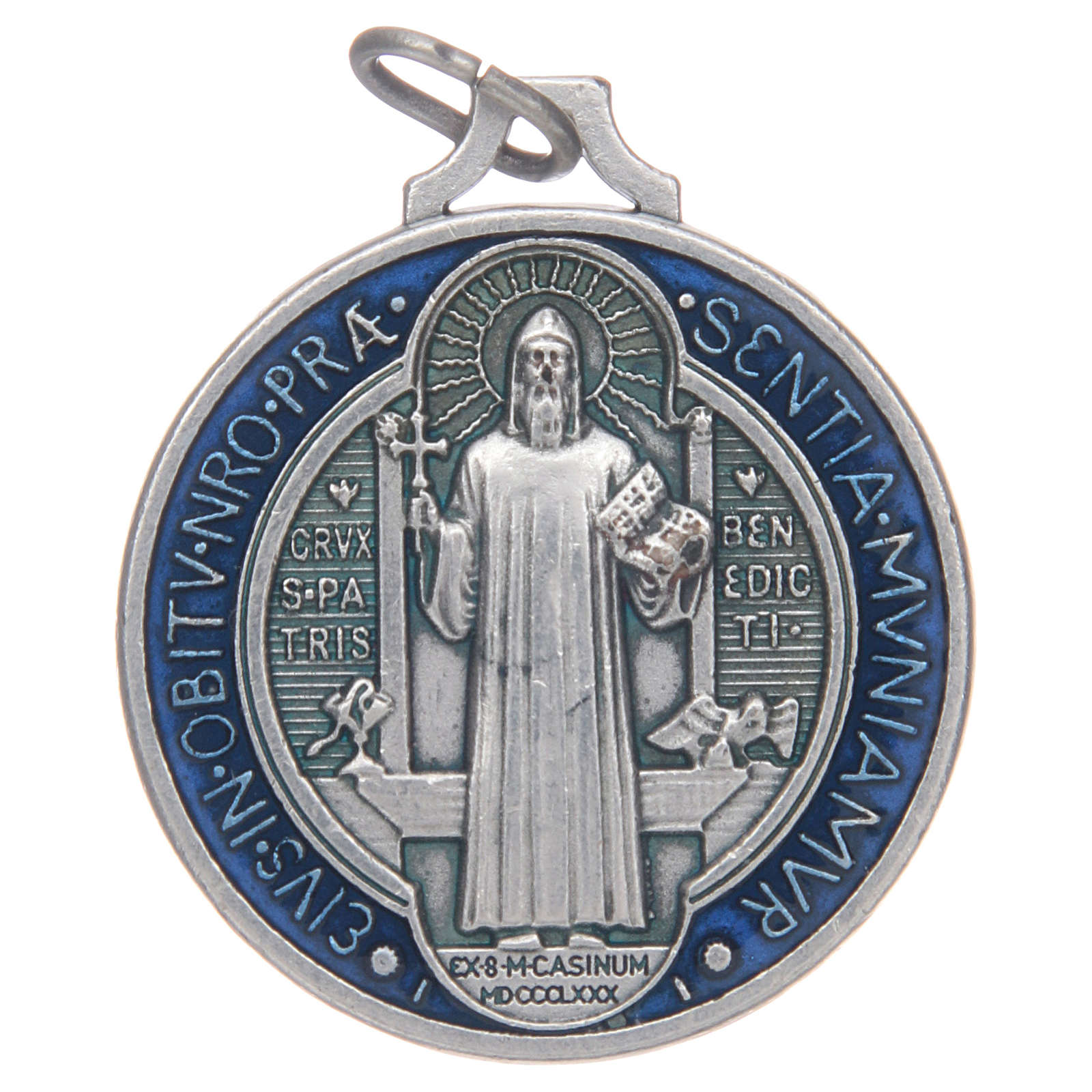 Medaille Heiliger Benedikt Zamak versilbert emailliert verschiedene Maße 4