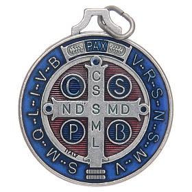 Medalla San Benito zamak plateado esmalte varias medidas s2