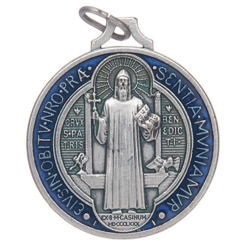 Medalla San Benito zamak plateado esmalte varias medidas 1