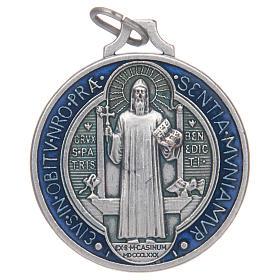 Medaglia San Benedetto zama argentato smaltato varie misure s1