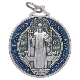Saint Benedict medal in silver plated zamak and enamel s1
