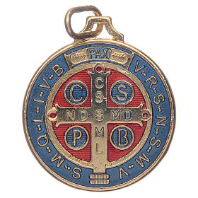 Saint Benedict medal in gold plated zamak and enamel