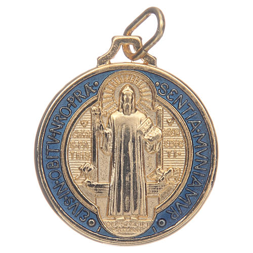 Saint Benedict medal in gold plated zamak and enamel 1