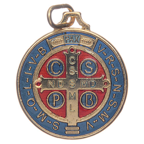 Saint Benedict medal in gold plated zamak and enamel 2
