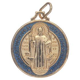 Medallas: Medalla San Benito zamak dorado esmalte azul varias medidas