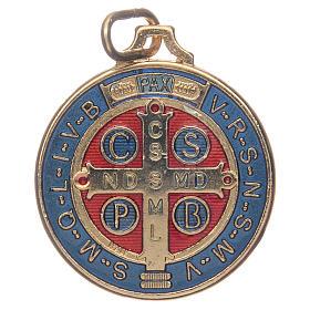 Medaglia San Benedetto zama dorato smaltato varie misure s2