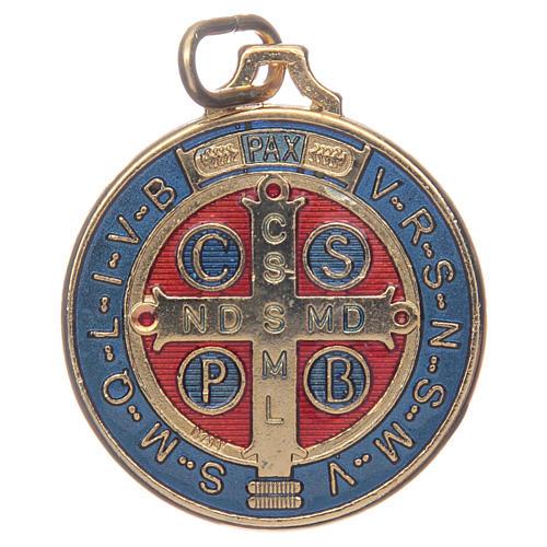 Medaglia San Benedetto zama dorato smaltato varie misure 2