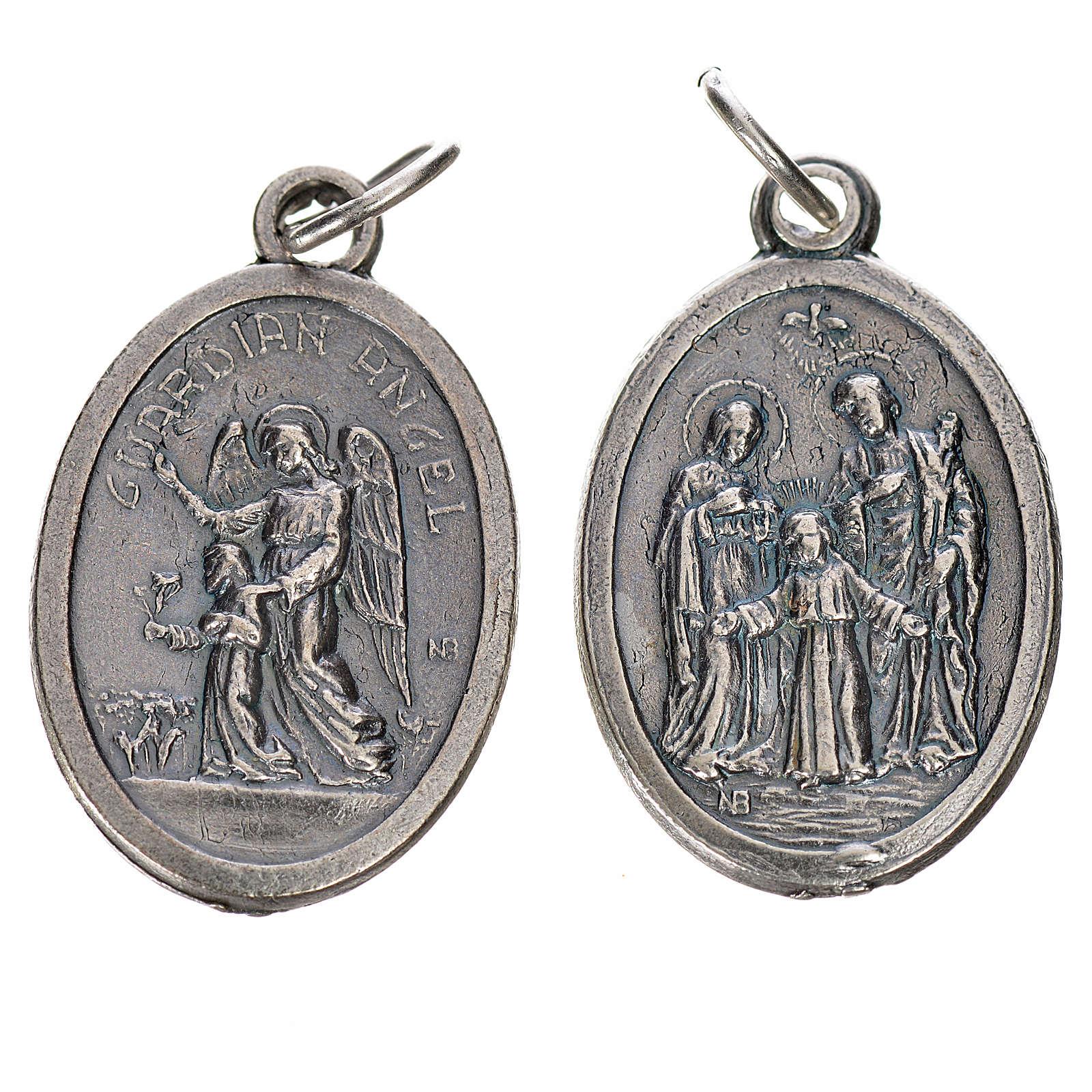 Medaglia Angelo Custode e Sacra Famiglia metallo ovale 20mm 4