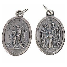 Medaglia Angelo Custode e Sacra Famiglia metallo ovale 20mm s1