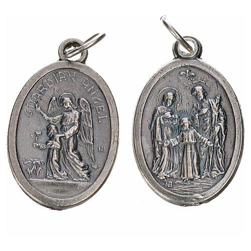 Medaglia Angelo Custode e Sacra Famiglia metallo ovale 20mm 1