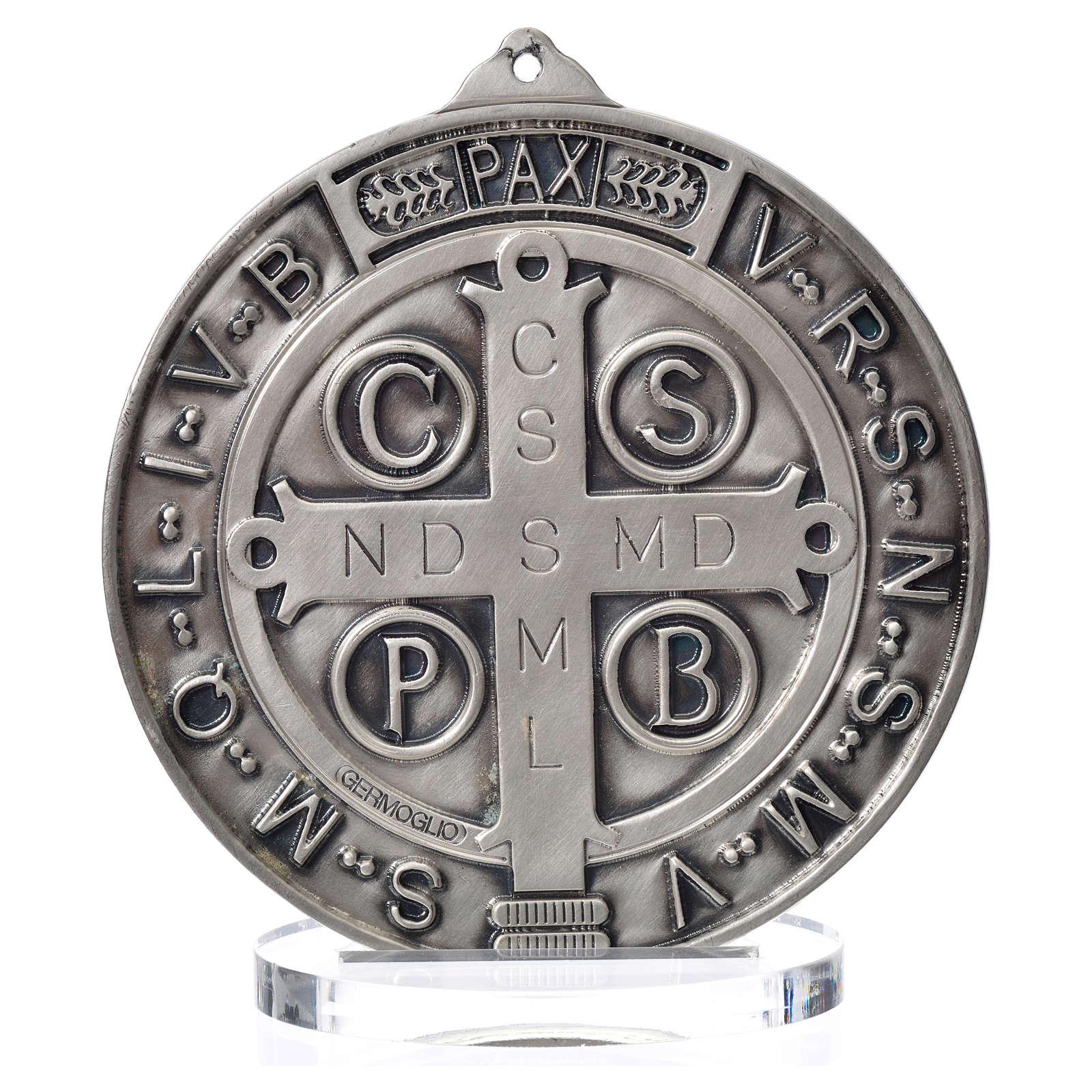 Medaglia San Benedetto zama argentato diam cm 15 4