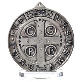 Medaglia San Benedetto zama argentato diam cm 15 s3