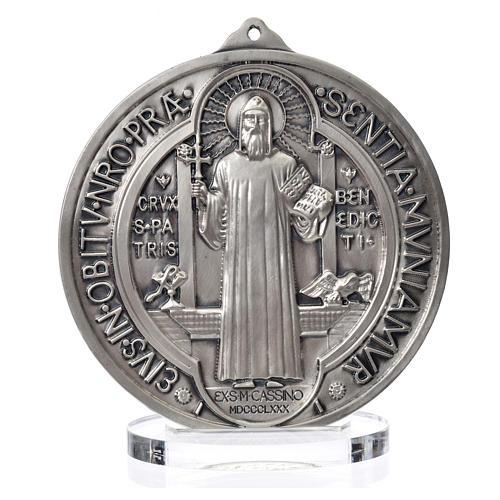Medaglia San Benedetto zama argentato diam cm 15 1