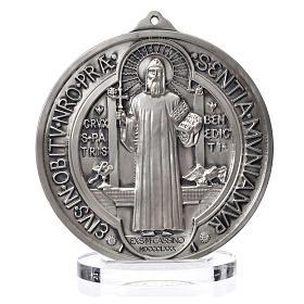 Medalha São Bento zamak prateado diâmetro 15 cm
