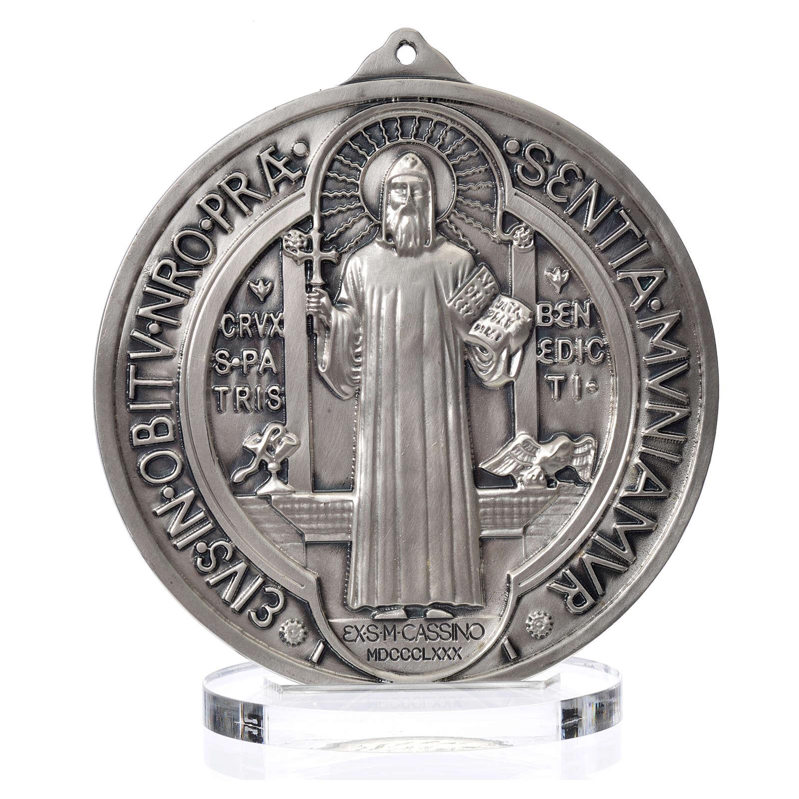 Saint Benedict medal in silver zamak 15 cm diameter 4