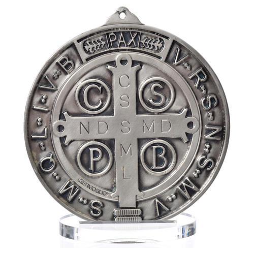 Saint Benedict medal in silver zamak 15 cm diameter 3