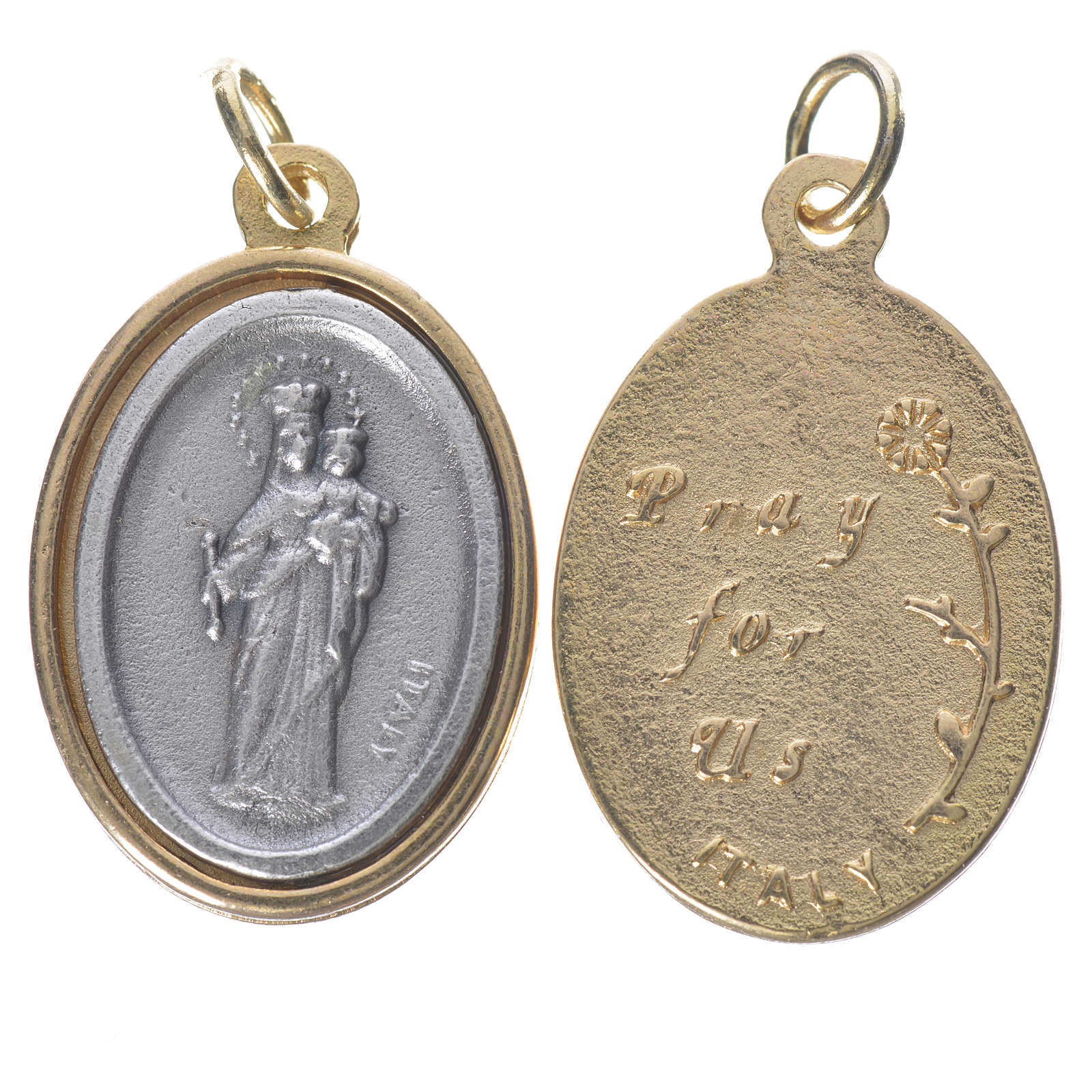 Mary Help of Christians silver and golden medal 2.5cm 4