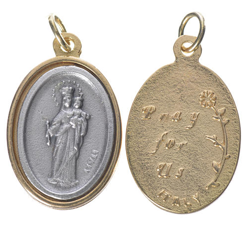 Medaglia Ausiliatrice metallo dorata argentata 2,5cm 1