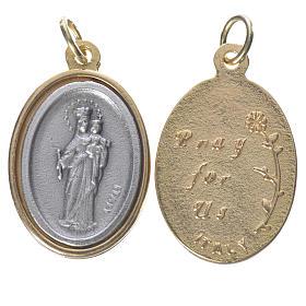 Medalha Maria Auxiliadora metal dourado prateado 2,5 cm s1