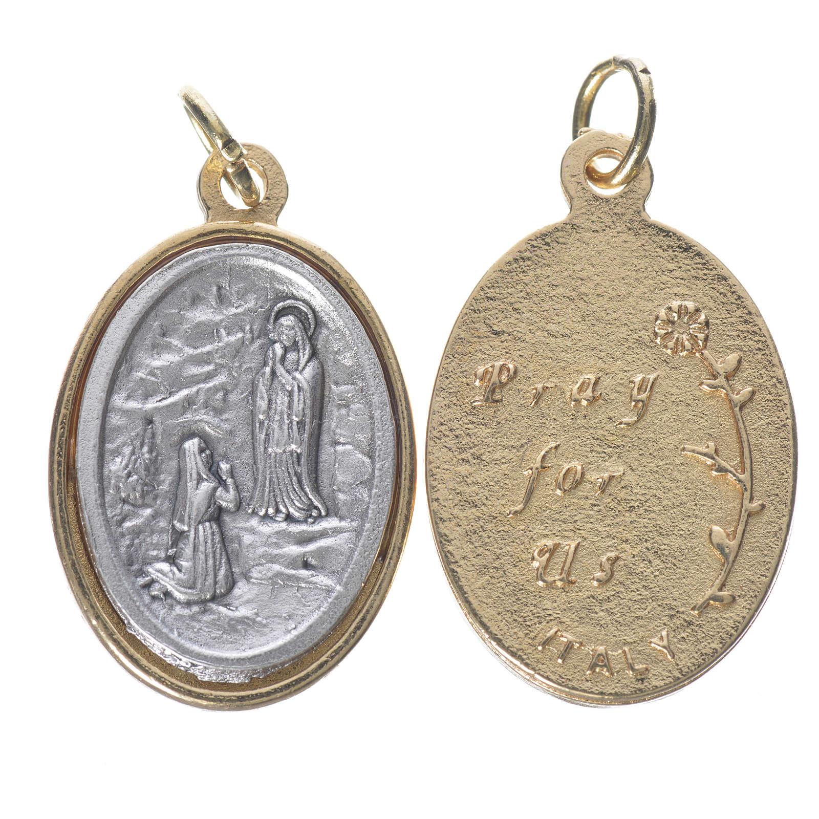 Medaglia  Lourdes metallo dorata argentata 2,5cm 4