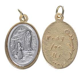 Medaglie: Medaglia  Lourdes metallo dorata argentata 2,5cm