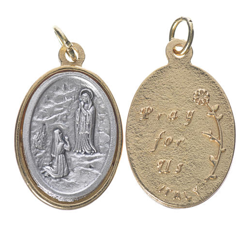 Lourdes Medal in silver and golden metal 2.5cm 1