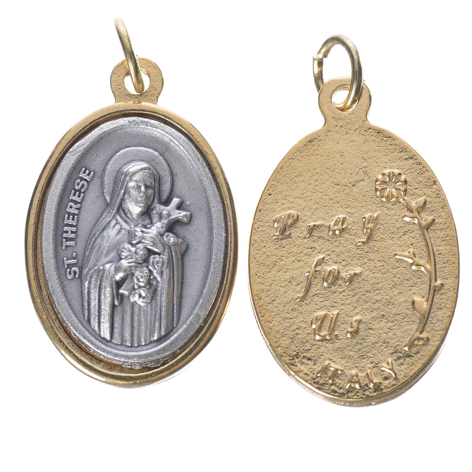 Medaglia s. Teresa metallo dorata argentata 2,5cm 4