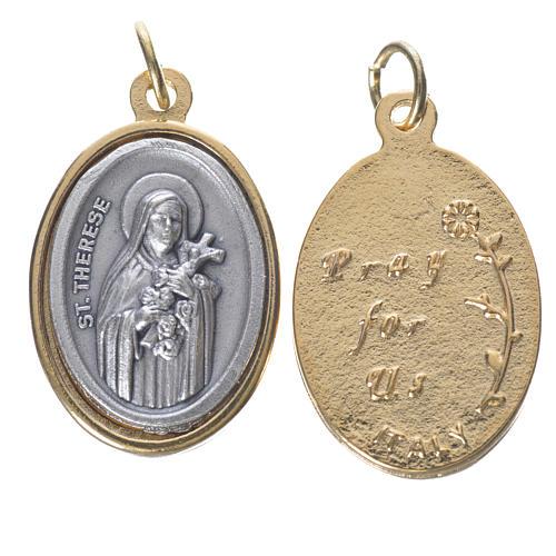 Medaglia s. Teresa metallo dorata argentata 2,5cm 1