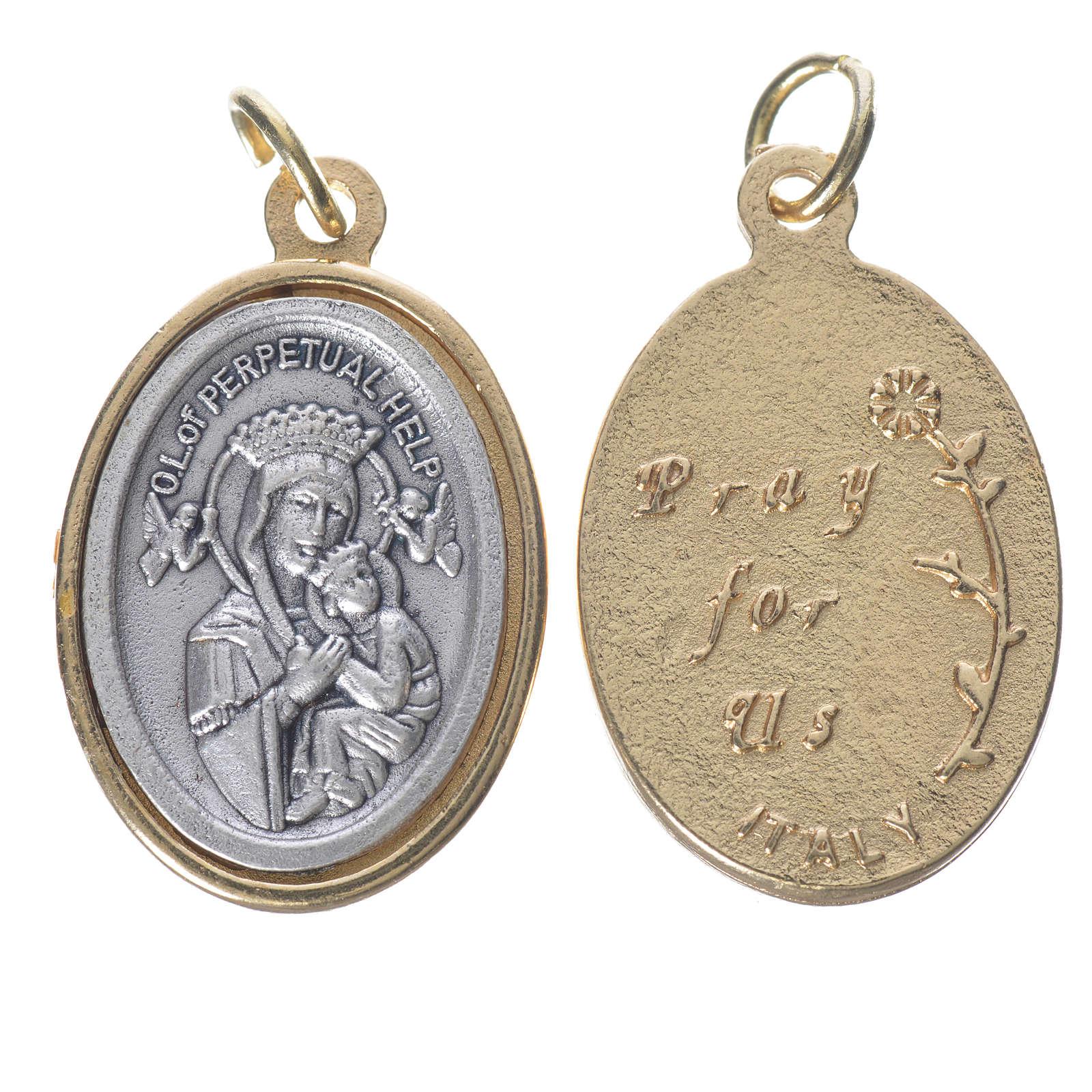 Medaglia  Perpetuo Soccorso metallo dorata argentata 2,5cm 4