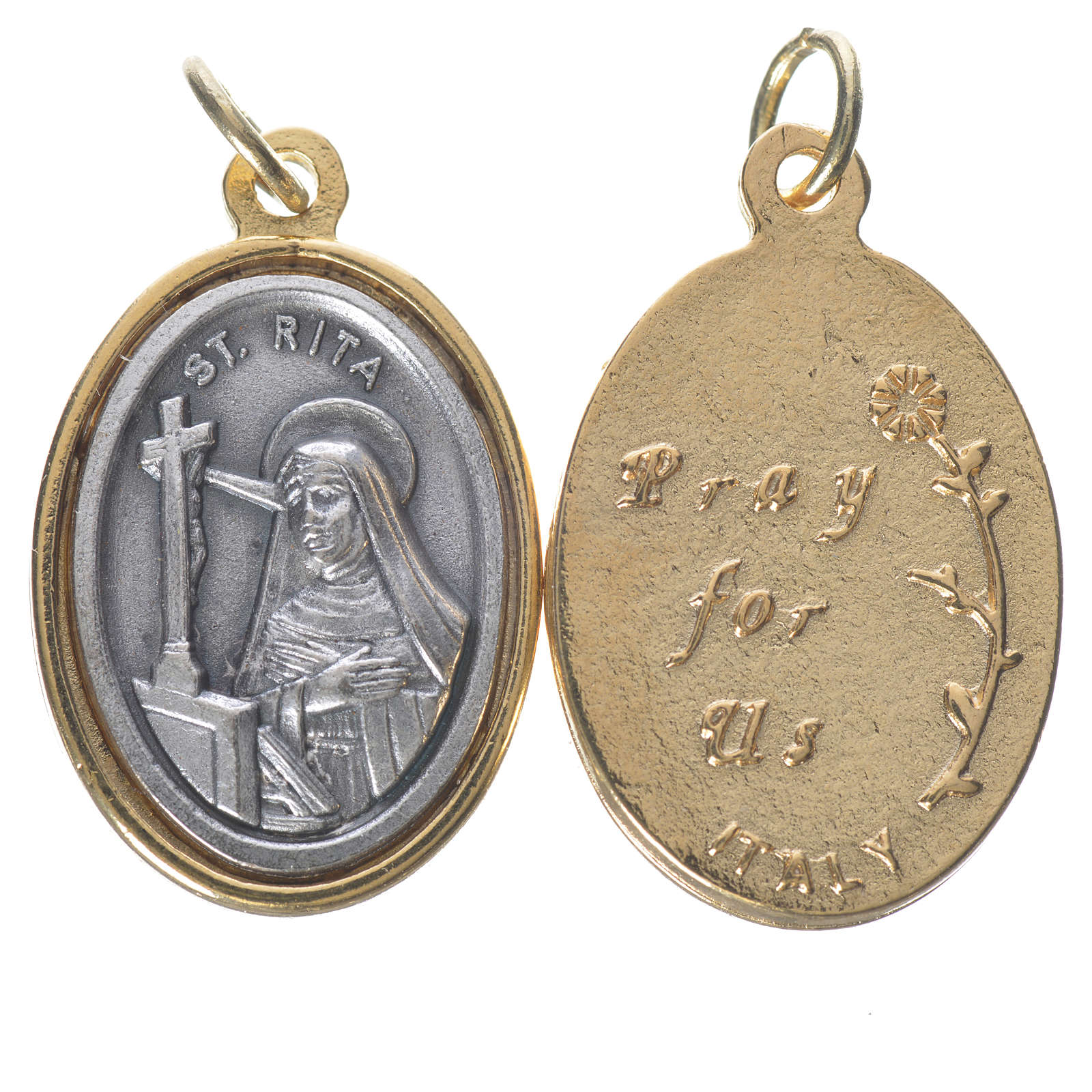 Medalla S. Rita metal dorado plateado 2,5 cm 4