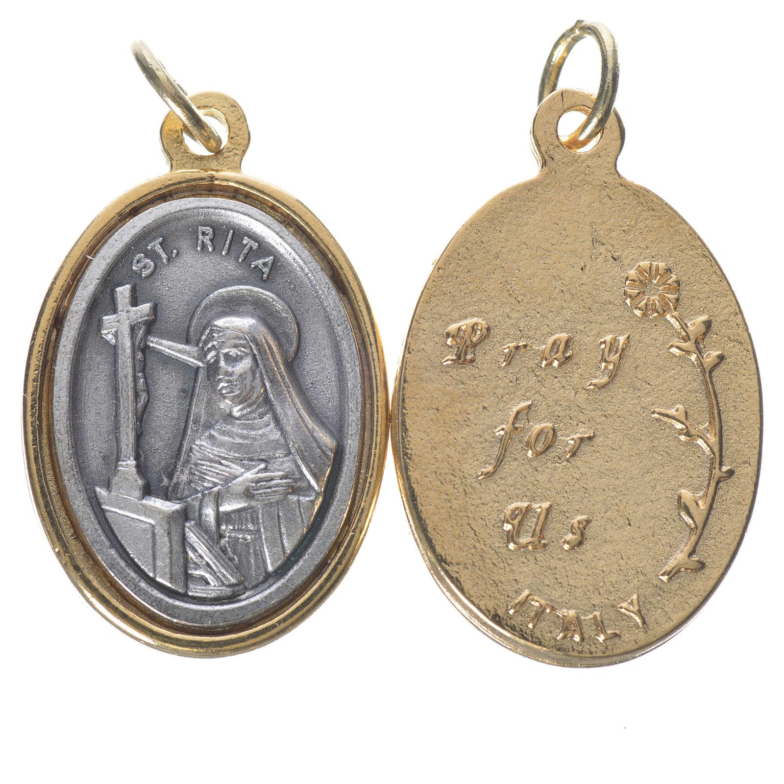 Medaglia  S. Rita metallo dorata argentata 2,5cm 4