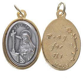 Medaglia  S. Rita metallo dorata argentata 2,5cm s1