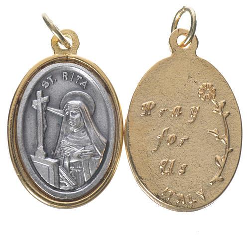 Medaglia  S. Rita metallo dorata argentata 2,5cm 1