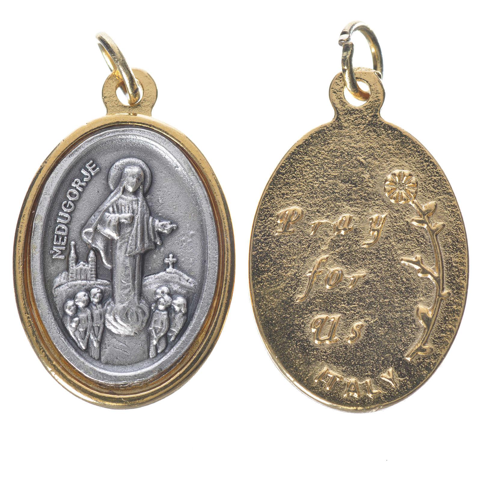 Medaglia  Medjugorje metallo dorata argentata 2,5cm 4